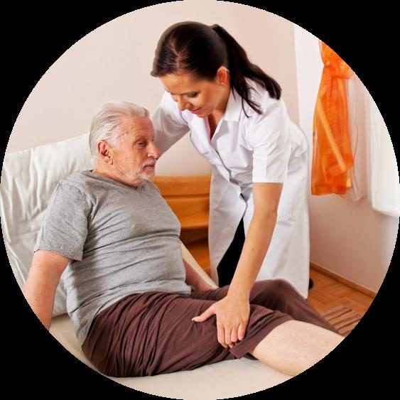 caregiver assitign an od man to get up
